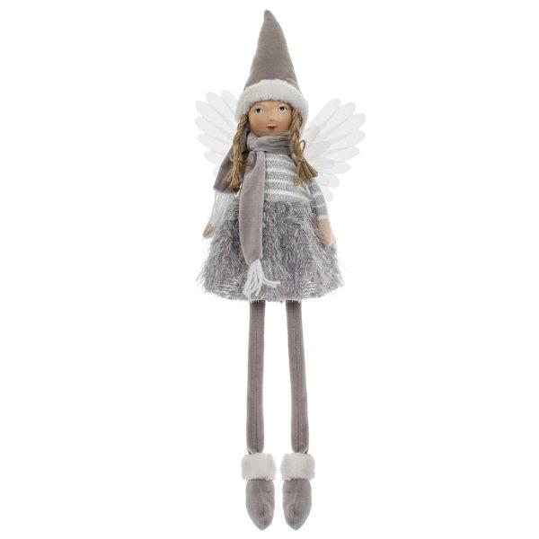 ANGEL WITH HAT SITTING GREY
