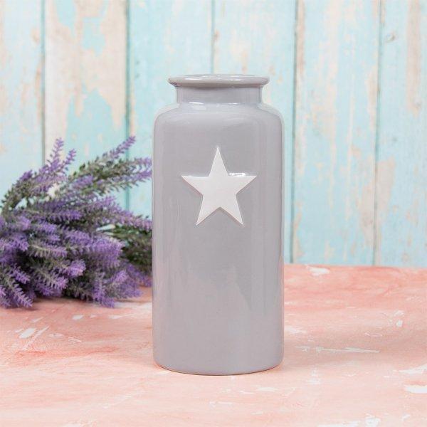 GREY & WHITE STAR VASE S