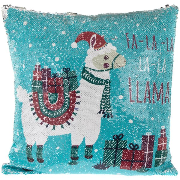 CHRISTMAS LLAMA SEQUIN CUSHION