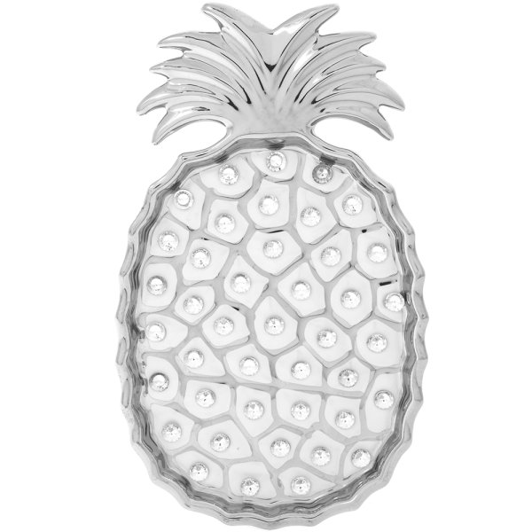 WHITE DIAMANTE PINEAPPLE DISH