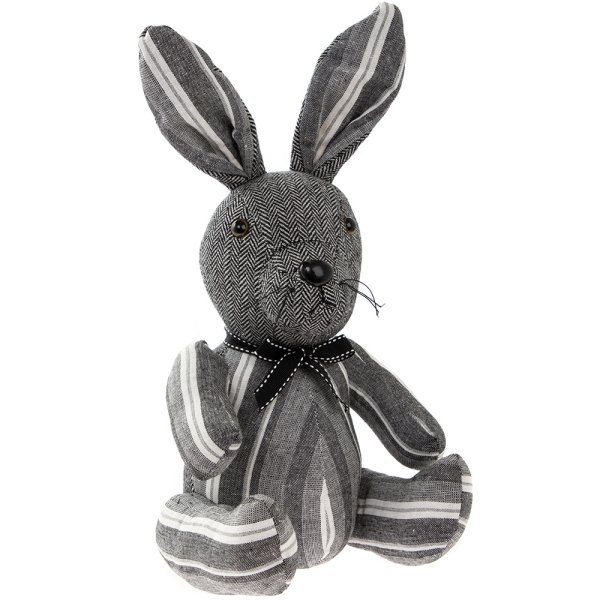 GREY STRIPES RABBIT DOORSTOP
