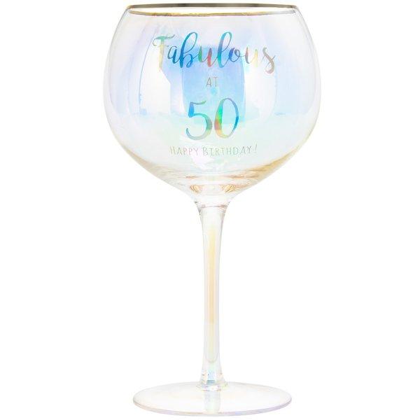 HAPPY 50TH GLASS