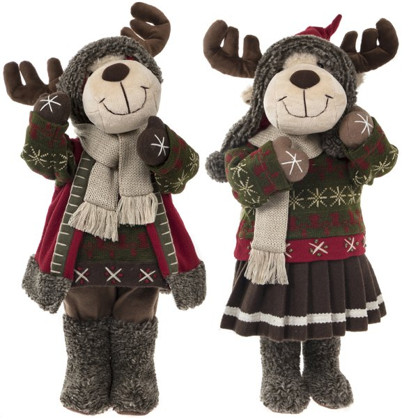 REINDEER BOY & GIRL RUSTIC 22""