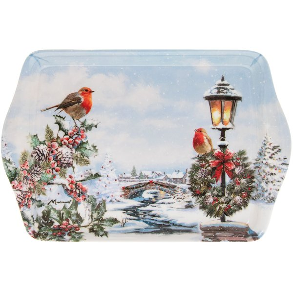 CHRISTMAS ROBINS TRAY SMALL