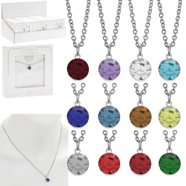 BIRTHSTONE NECKLACE 12 ASST