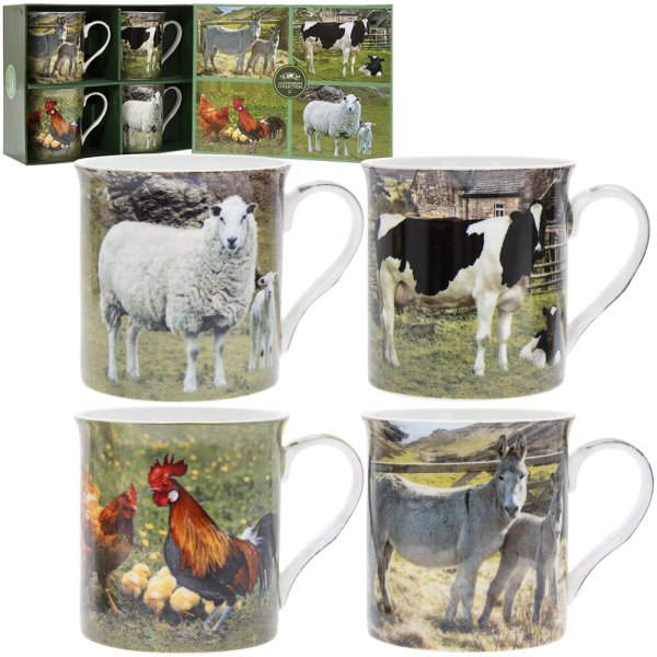 FARMYARD ANIMAL MUGS SET 4