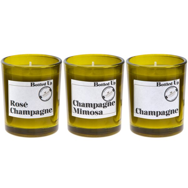 CHAMPAGNE BOTTLE CANDLE SET 3