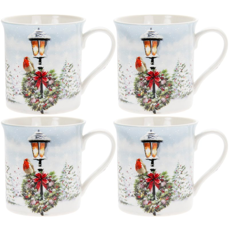 CHRISTMAS ROBINS MUG SET 4