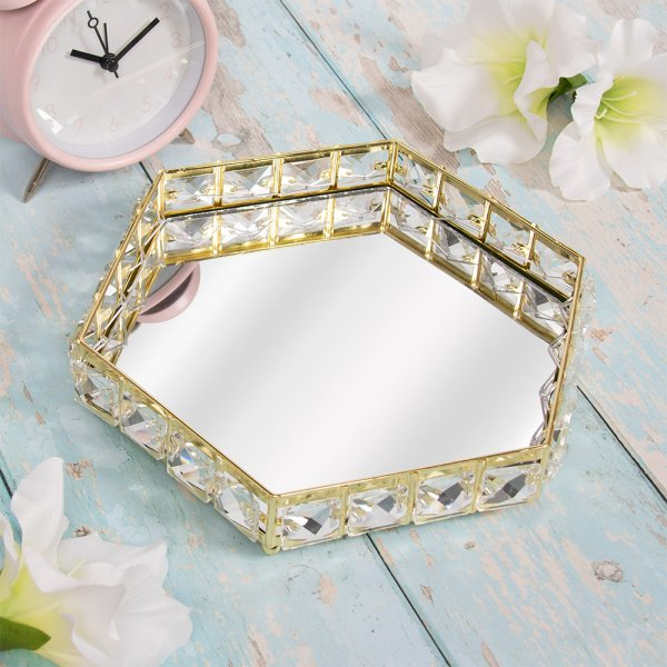 GOLD CRYSTAL TRAY HEX 22.5CM