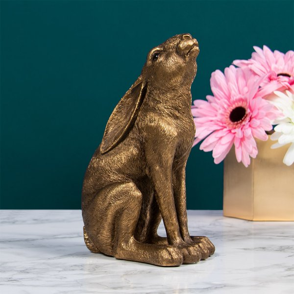 BRONZE HARE GAZING