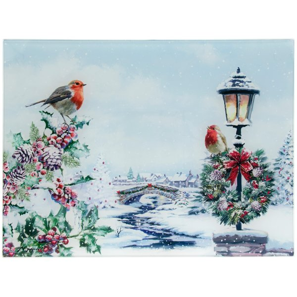 XMAS ROBINS GLASS CUTTING BD L