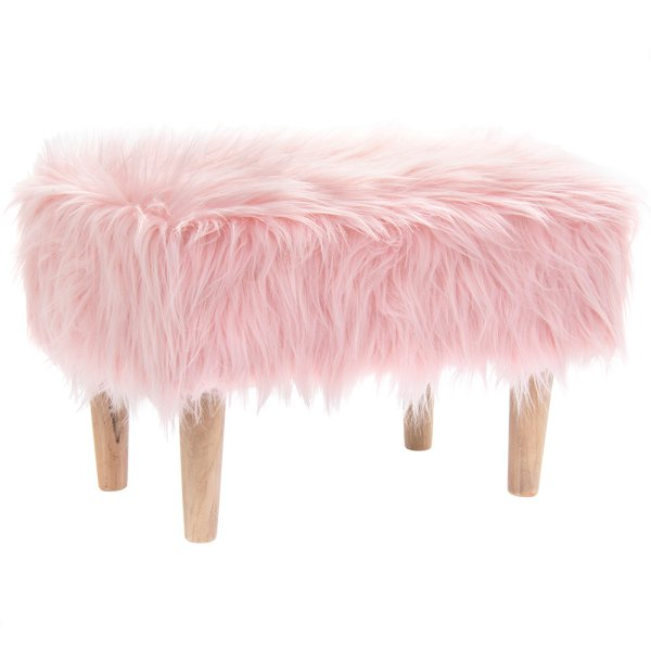 PINK FURRY STOOL RECTANGLE