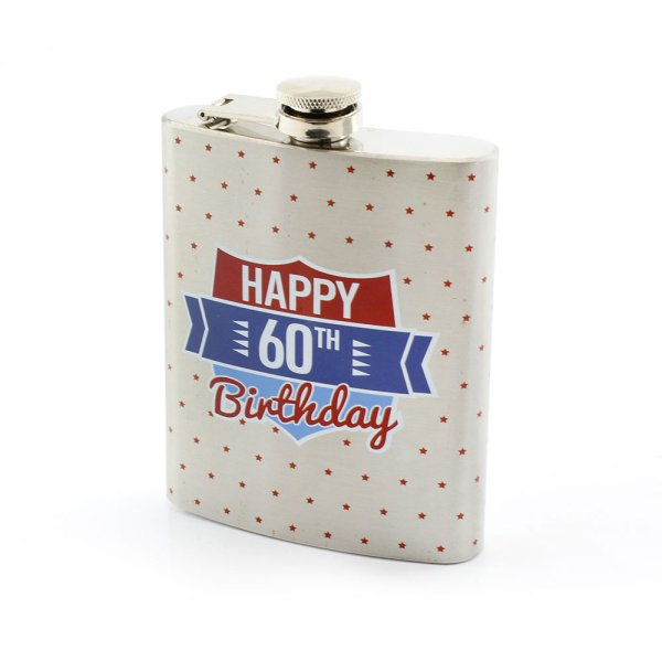 S/STEEL HIP FLASK 60TH BDAY