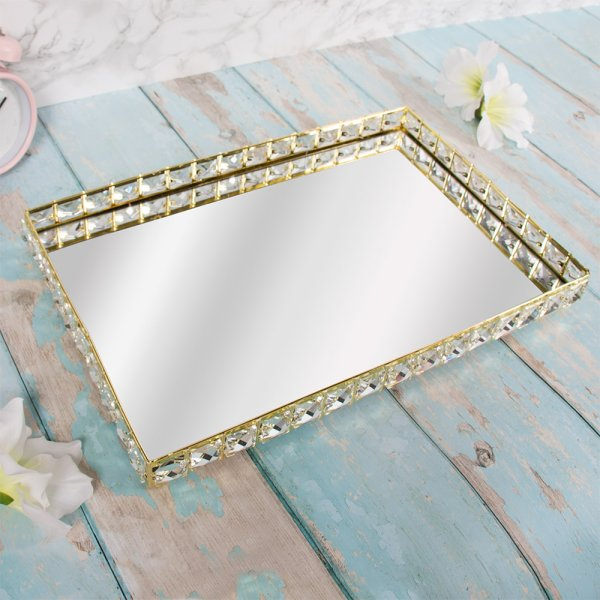 GOLD CRYSTAL TRAY 41X27 CM