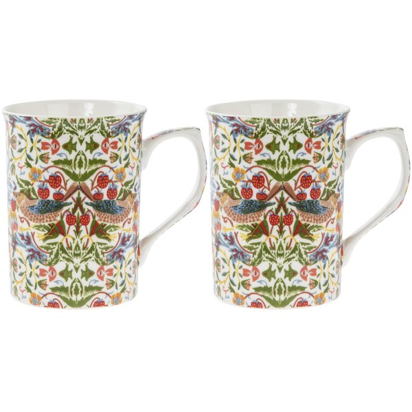 WHT STRAWBERRY THIEF MUGS S2