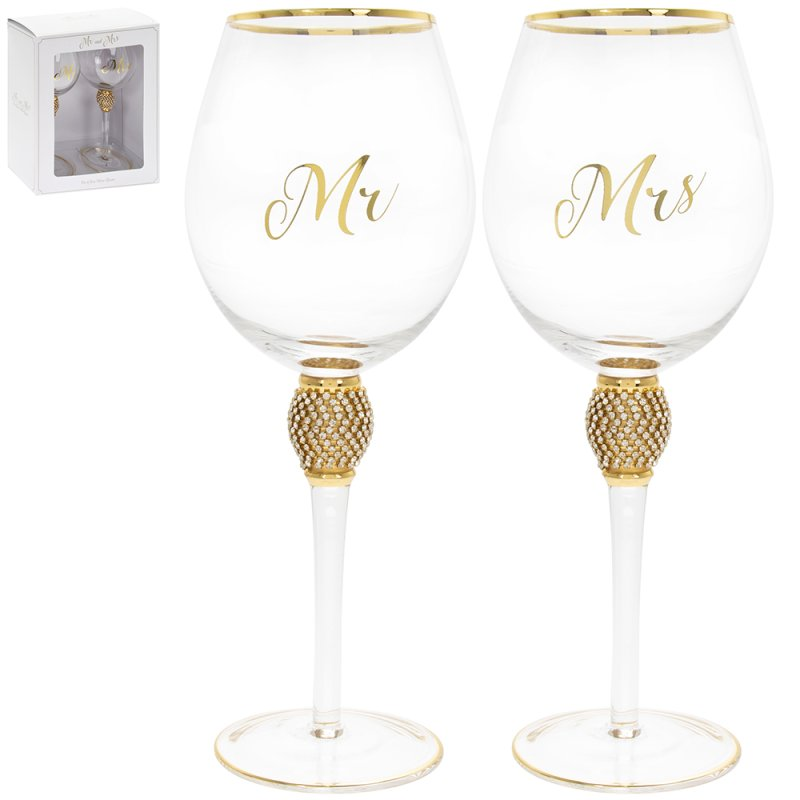 MR&MRS DIAMANTE WINE GLSS GOLD