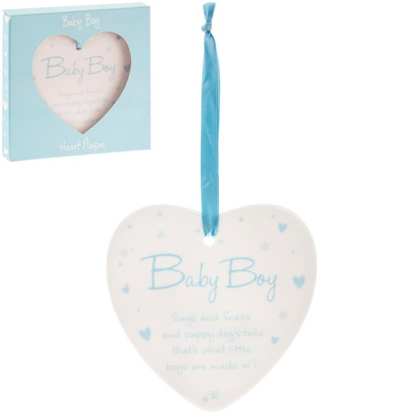 NEW BABY BOY HEART PLAQUE