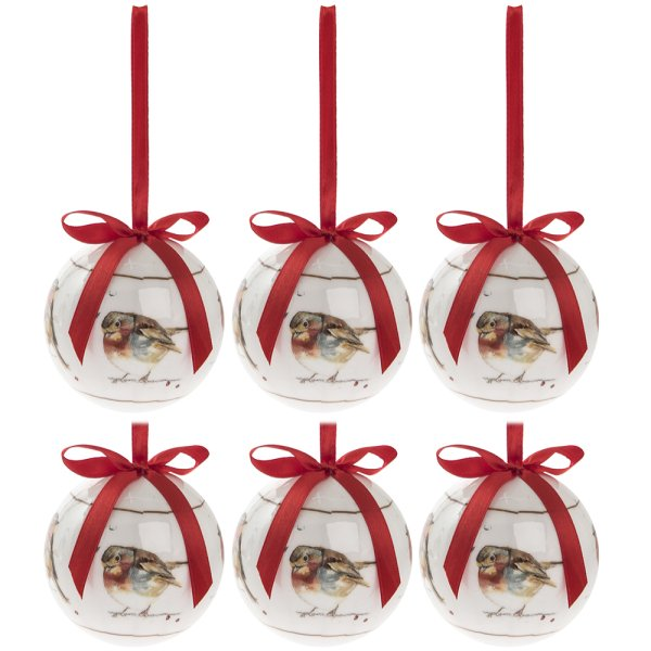 WINTER ROBINS BAUBLES SET OF 6