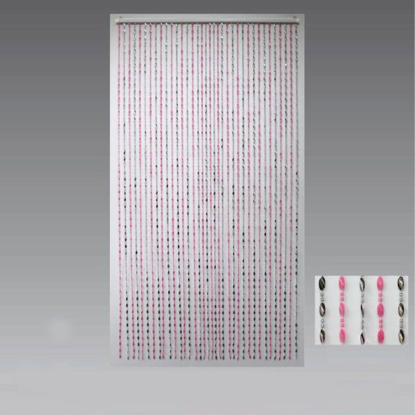 BEAD CURTAIN SILVER & PINK