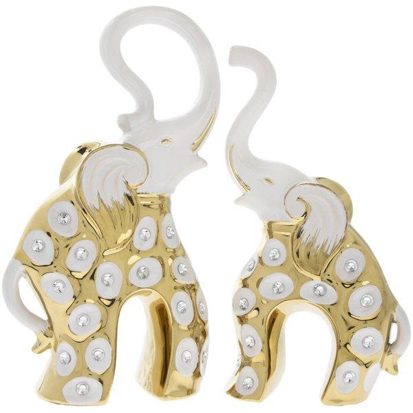 WHITE & GOLD ELEPHANT PAIR