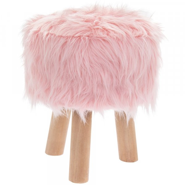 PINK FURRY STOOL ROUND