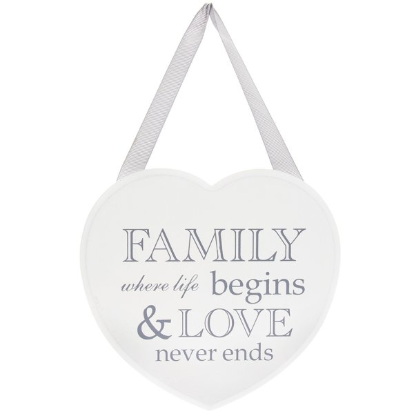 HEART PLAQUE FAMILY NEVER ENDS