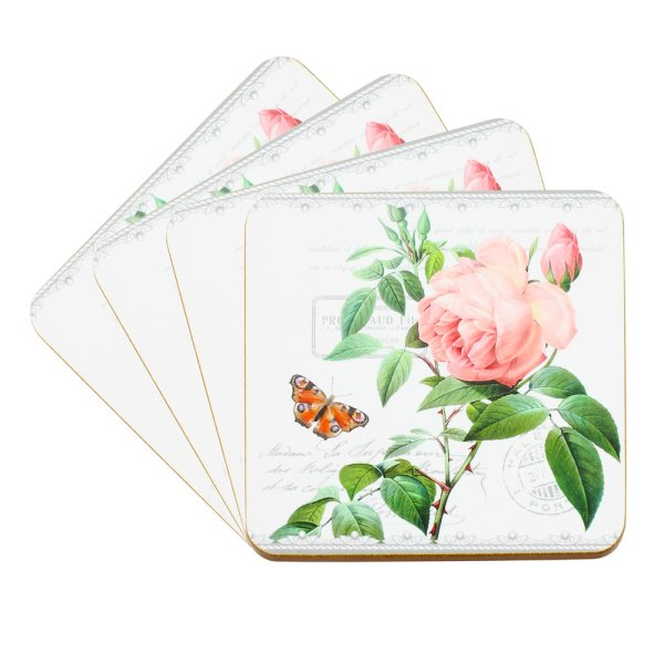 REDOUTE ROSE COASTERS SET 4