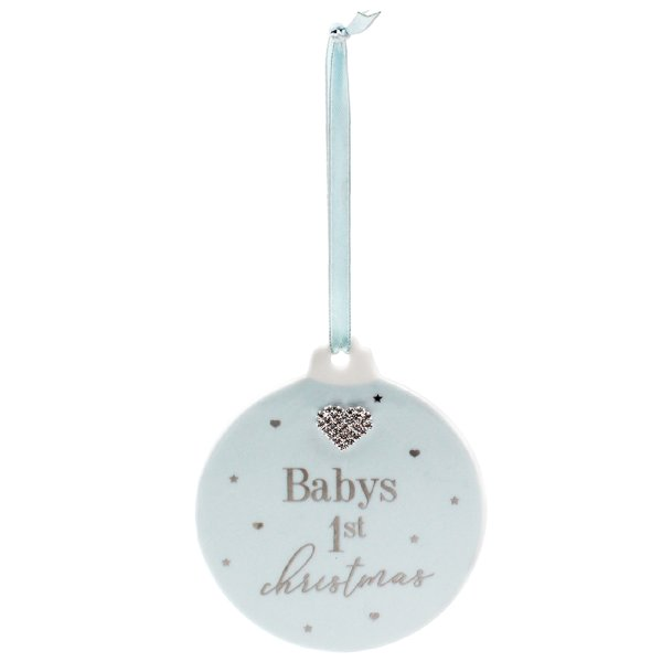 BABY 1ST XMAS BAUBLE PLQ BLUE