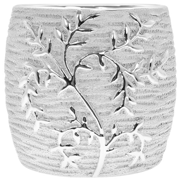 SILVER ART LEAVES PLANTER 15CM