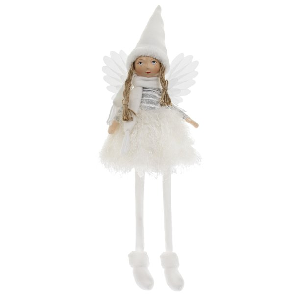 ANGEL WITH HAT SITTING WHITE