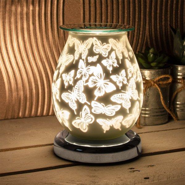 SATIN WHT BUTTERFLY AROMA LAMP