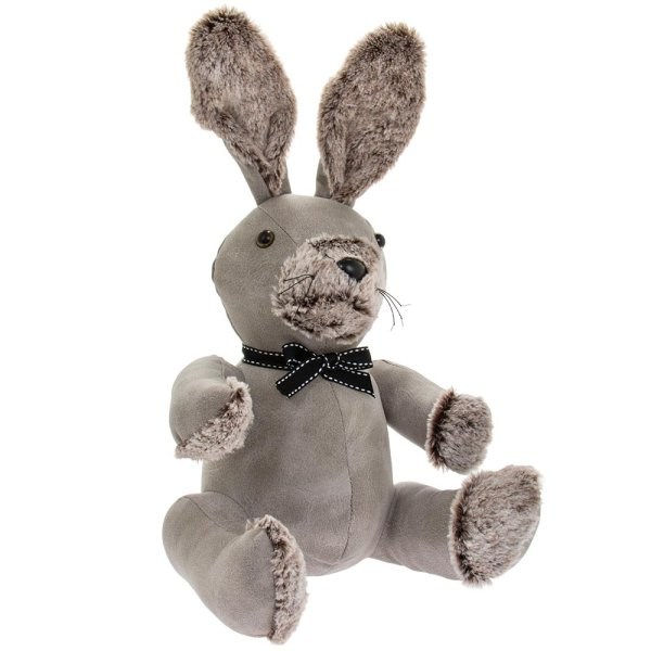 GREY RABBIT DOORSTOP