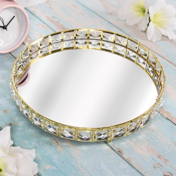 GOLD CRYSTAL TRAY 26 CM