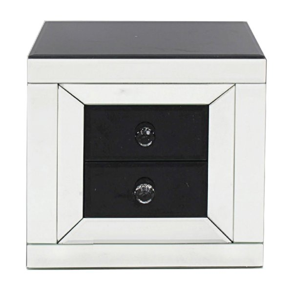 MIRROR BLK 2DRW JEWEL BOX