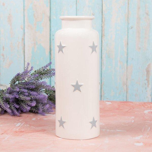 WHITE & GREY STARS VASE L