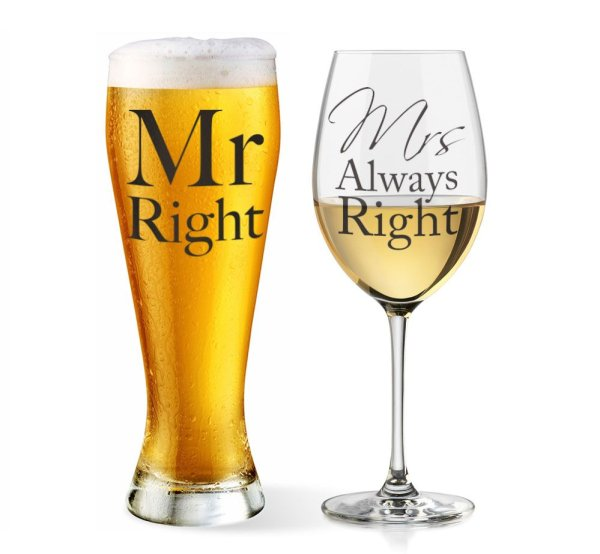 MR & MRS RIGHT GLASSES SET