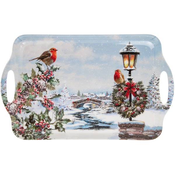 CHRISTMAS ROBINS TRAY LARGE