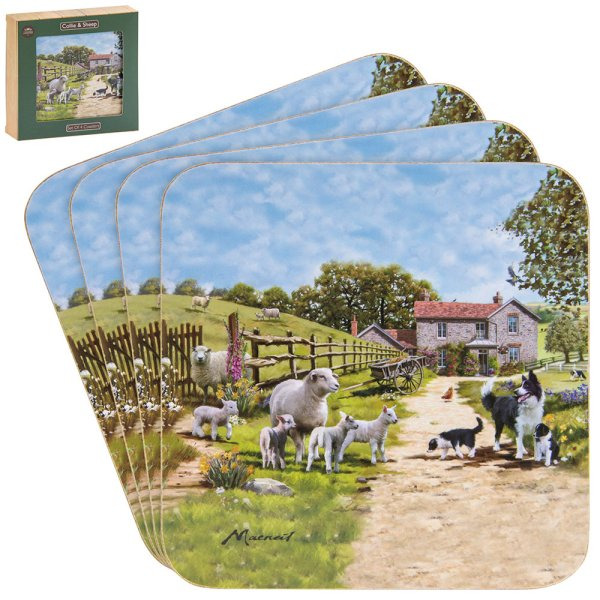 COLLIE & SHEEP COASTERS SET 4