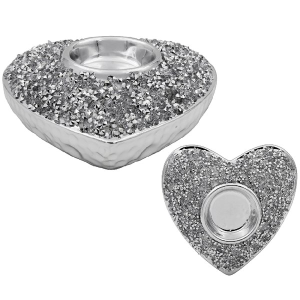 SILVER SPARKLE HEART TEA LIGHT