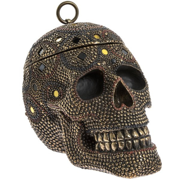 EXOTIC ART SKULL BOX WITH LID