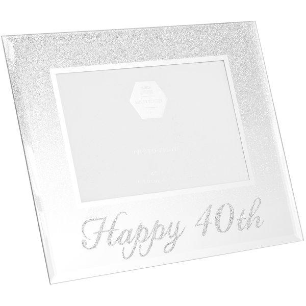 SIL GLITTER HAPPY40THFRAME 4X6