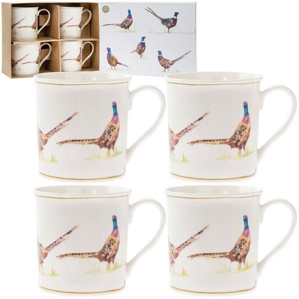 PHEASANT MUGS SET OF 4