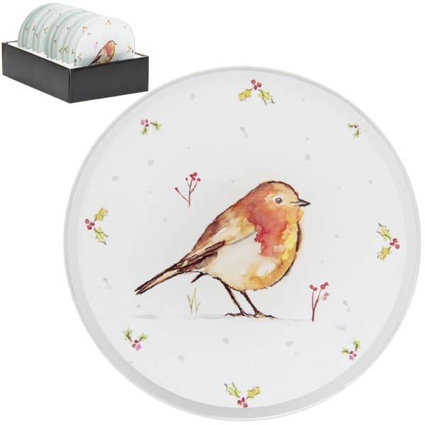 WINTER ROBINS CANDLE PLATE