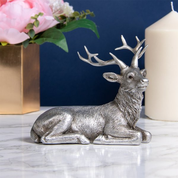 REFLECTIONS SILVER LYING STAG