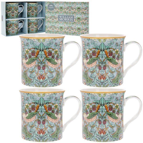 S'BERRY THIEF TEAL MUGS SET 4