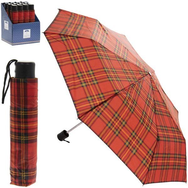 FOLDING UMBRELLA RED TARTAN