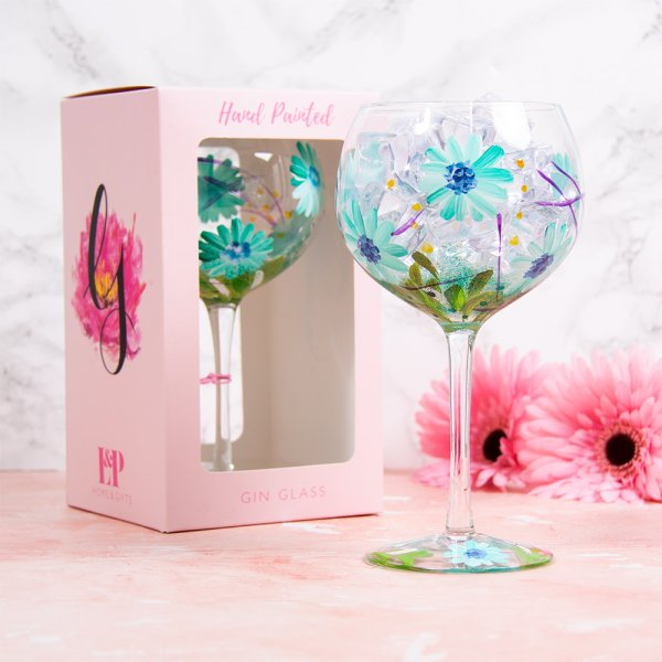 BLUE GERBERA GLASS