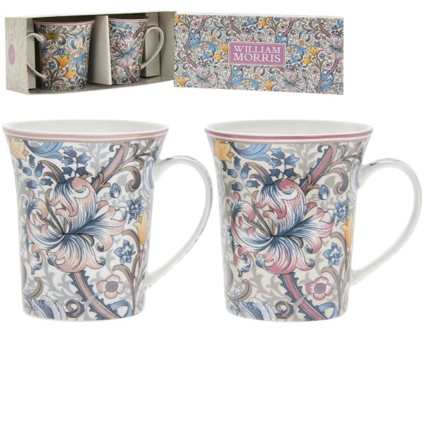 GOLDEN LILY MUGS S/2
