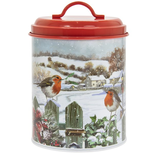 CHRISTMAS ROBINS CANISTER MED