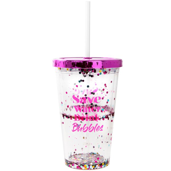 GLITTER SAVE WATER CUP W/STRAW